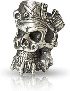 Paracord Skull Bead Blackbeard - Metal DIY Paracord Beads Charms EDC Accessories for Custom Bracelet Knife Lanyard Zipper Pull - Handmade Paracord Charms Supplies Crafts