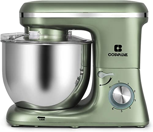 wholesale COSVALVE wholesale Stand Mixer,7-QT 660W 6-Speed Food Processing, Tilt-Head outlet online sale Food Mixer with Stainless Bowl, Kitchen Electric Mixer with Dough Hook, Wire Whip & Beater (7 Qt. Green) online
