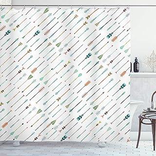 Ambesonne Arrows Shower Curtain, Tilted Ornamental Arrows in Style Artwork Pattern Print, Cloth Fabric Bathroom Decor Set ...