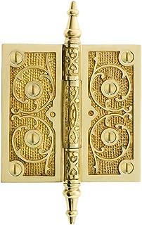 House of Antique Hardware R-04DE-165-MB Brass 3 1//2 Half-Mortise Door Hinge with Beveled Surface Leaf in Black Powdercoat Finish