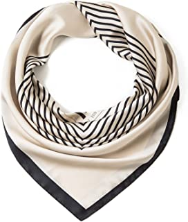 وشاح Lusm 35.9 بوصة حريري مثل وشاح للنساء كبير مربع الرقبة والأوشحة العصرية نمط خفيفة الوزن أغطية الرأس
