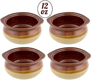 French Onion Soup Crocks, Porcelain Ceramic Soup Bowls, 12 Ounces -Set of 4-