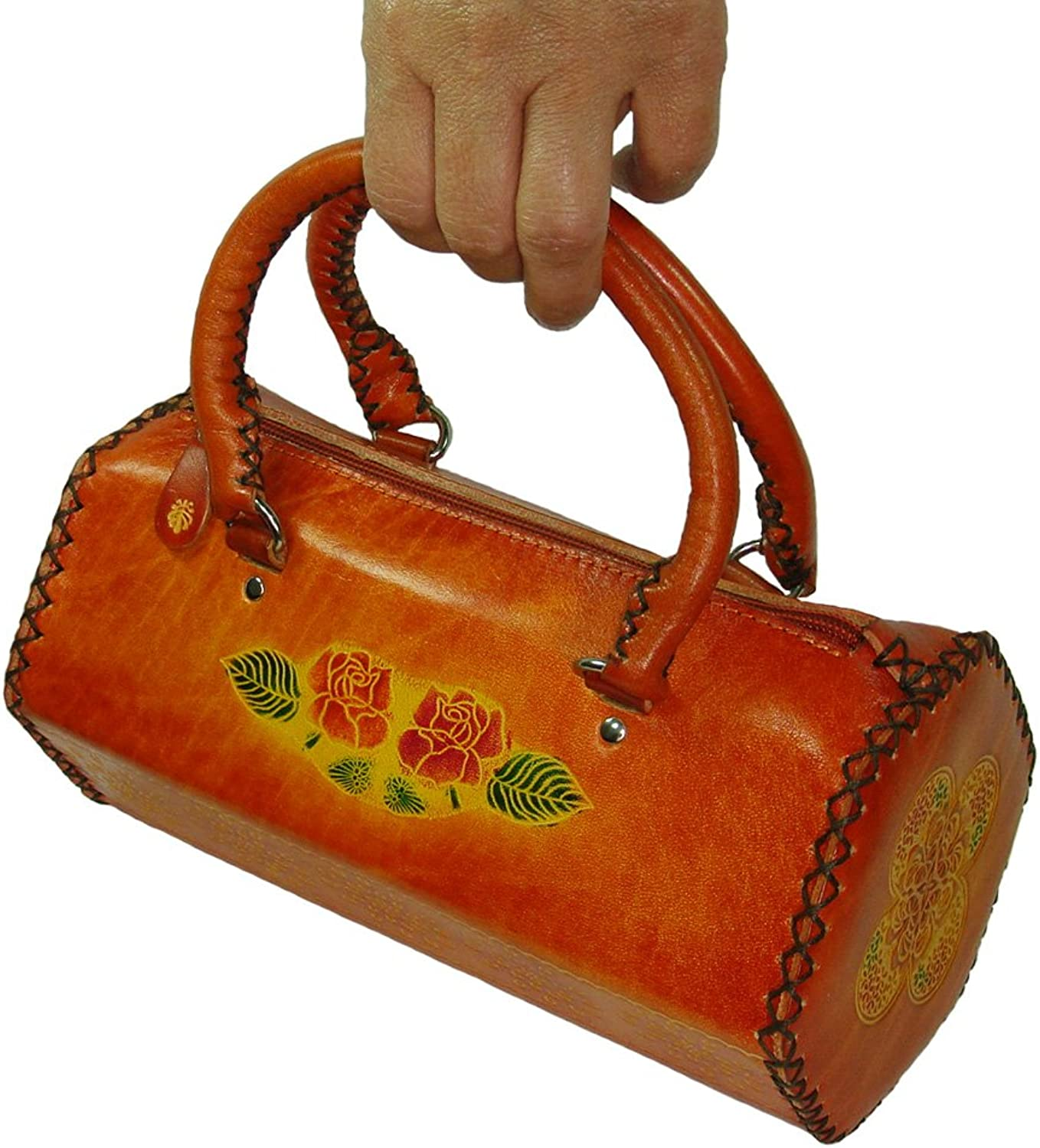 A Real Leather Handbag, Hexagon Columnar Shaped, Butterfly & Flower, orangeRed