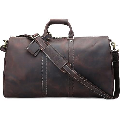 Polare 23   Duffle Retro Thick Cowhide Leather Weekender Travel Duffel luggage  Bag 88b16f920913a