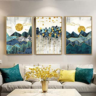 AKLIG Canvas Paintings Wall Art Abstract Geometric Mountain Landscape for Living Room Bedroom Kitchen, 50Cm X 70Cm X 3Pcs(No Frame)