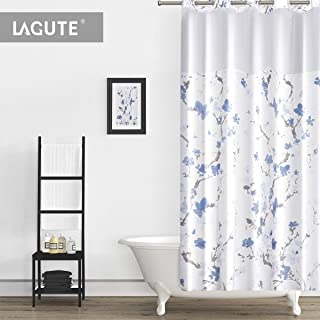 Lagute SnapHook Nature Hookless Shower Curtain | Removable Liner | See Through Top | Machine Washable | Blue Blossom