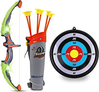 GoBroBrand Bow and Arrow Set for Kids -Green Light Up Archery Toy Set -Includes 6 Suction..