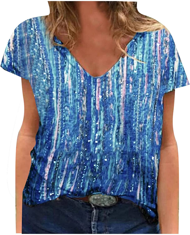 Women's San Ranking TOP20 Jose Mall Casual Short Sleeve V-Neck Fashion Tops Pullover Summer