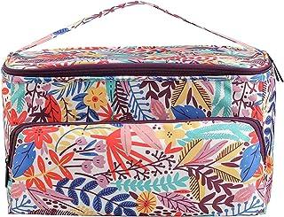 Elibeauty Sac fourre-tout à tricoter, grande capacité de rangement de fils, organiseur portable avec poches pour fils, aig...