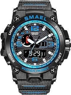 ساعة SMAEL للرجال، ساعة رياضية مع حركة كوارتز مزدوجة، ساعات عرض رقمية للرجال