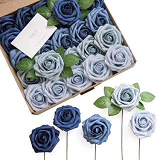 Ling's moment Roses Artificial Flowers Ombre Colors 25pcs Realistic Indigo Blue Fake Roses with Stem for DIY Wedding Centerpieces Bouquets Decorations