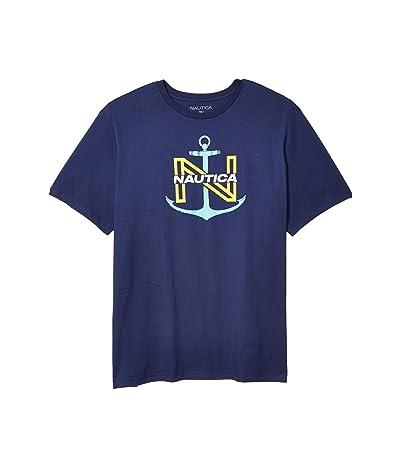 Nautica Big & Tall Big Tall Anchor Outlined N Direct Print T-Shirt (J Navy) Men