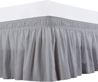 Knitwitz Wrap Around Bed Skirts, Egyptian Cotton Elastic Ruffle Bedskirt Drop up to 15