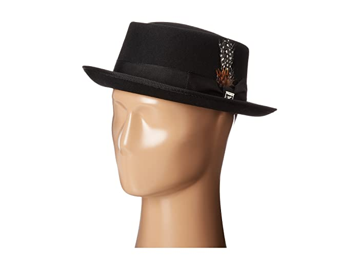 Stacy Adams  Pork Pie Wool Felt Hat with Grosgrain Band (Black) Caps