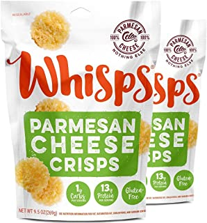 Whisps Parmesan Cheese Crisps| Keto Snack, Gluten Free, Sugar Free, Low Carb, High Protein | Large 9.5oz (2 Pack)
