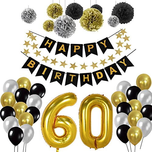 60th Birthday Party Decorations Kit Gold Number 60 Ballon 30pcs Black Silver And