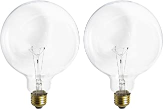 (2 Pack) G40 Incandescent Light Bulb 2700K Soft Light, Decorative Globe Light Bulbs,E26 Medium Base, Perfect use for Decor...