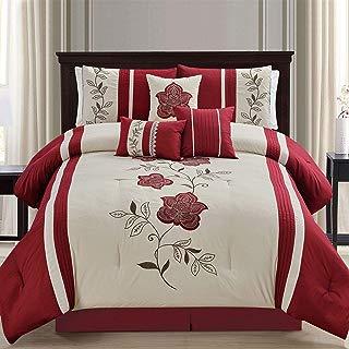 KingLinen 7 Piece Mirabel Burgundy/Beige Comforter Set Queen