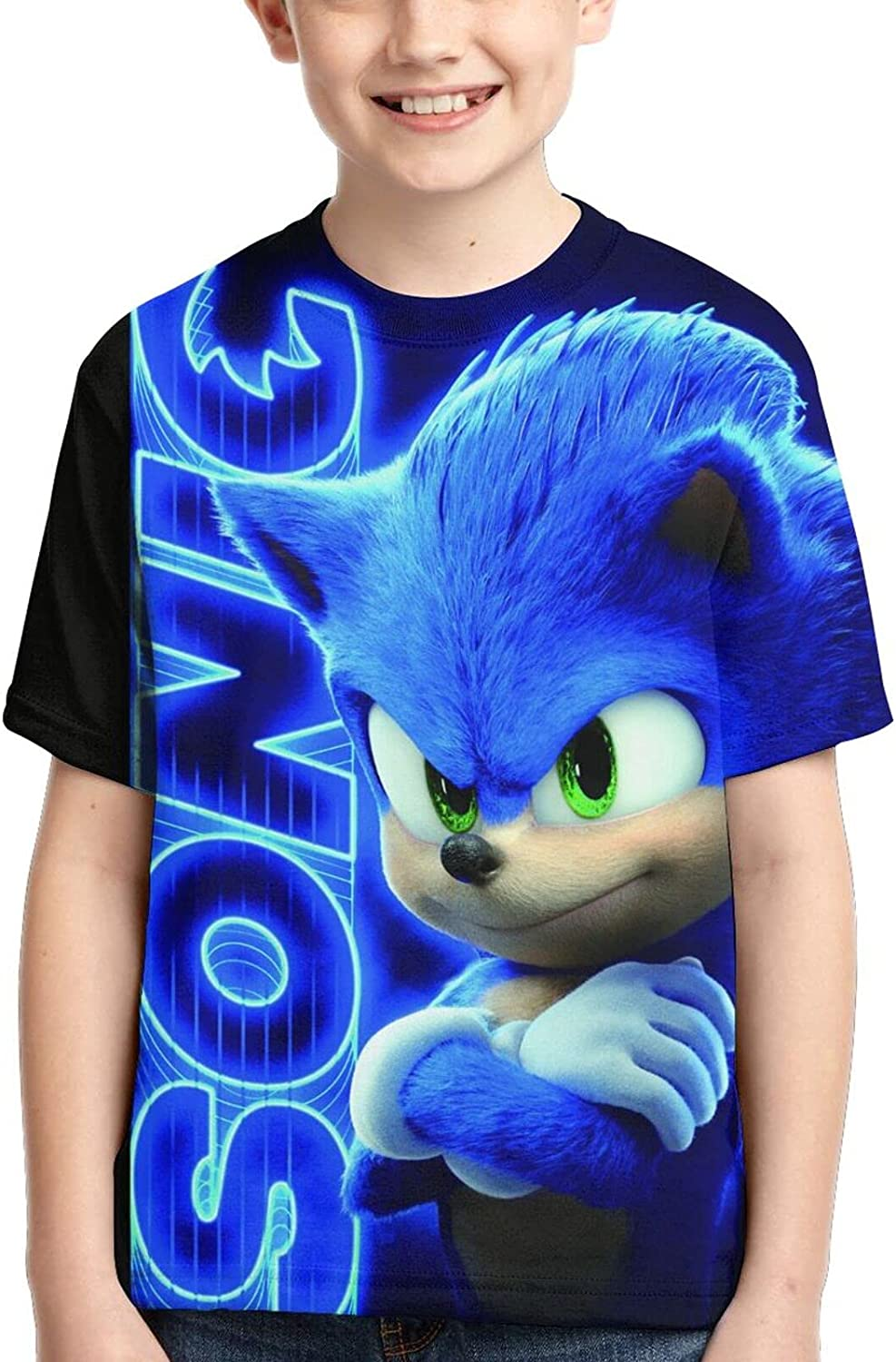 S-on-ic Youth Short Sleeve Top Kong 3D Printing T-Shirts for Teen Boys and Girls Children T-Shirts