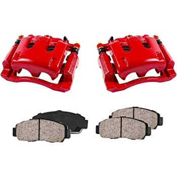 4 CCK02406 Quiet Low Dust Ceramic Brake Pads REAR Performance Red Powder Coated Remanufactured Calipers + 2