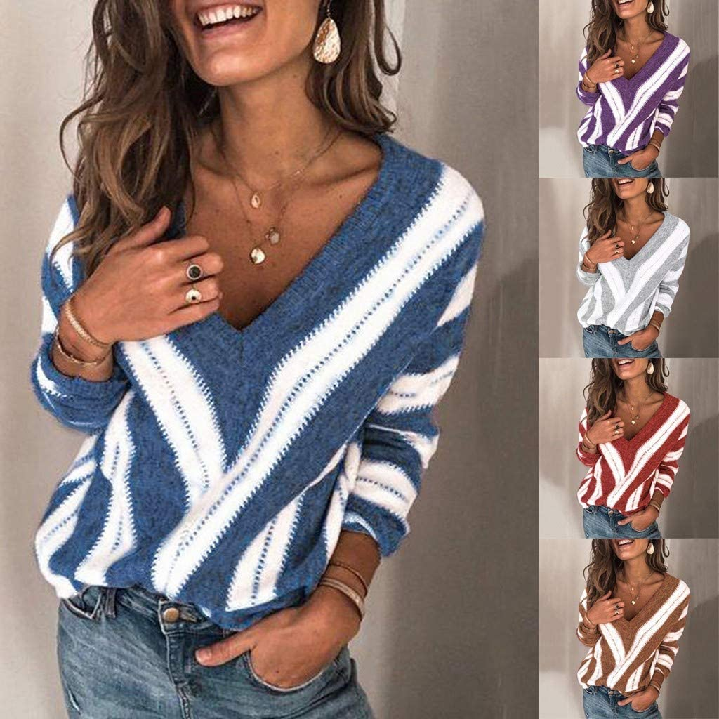 Sweaters for Women,Women's Sweaters Casual Long Sleeve V Neck Color Block Patchwork Pullover Knit Sweater Tops