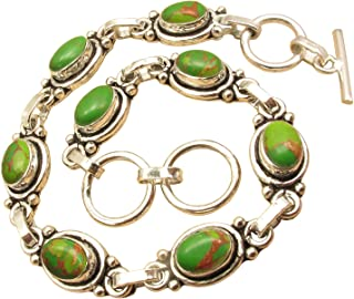 ShantiInternational Genuine Green Copper Turquoise Gemstone Bracelet ! 925 Sterling Silver Plated Online Jewelry Store