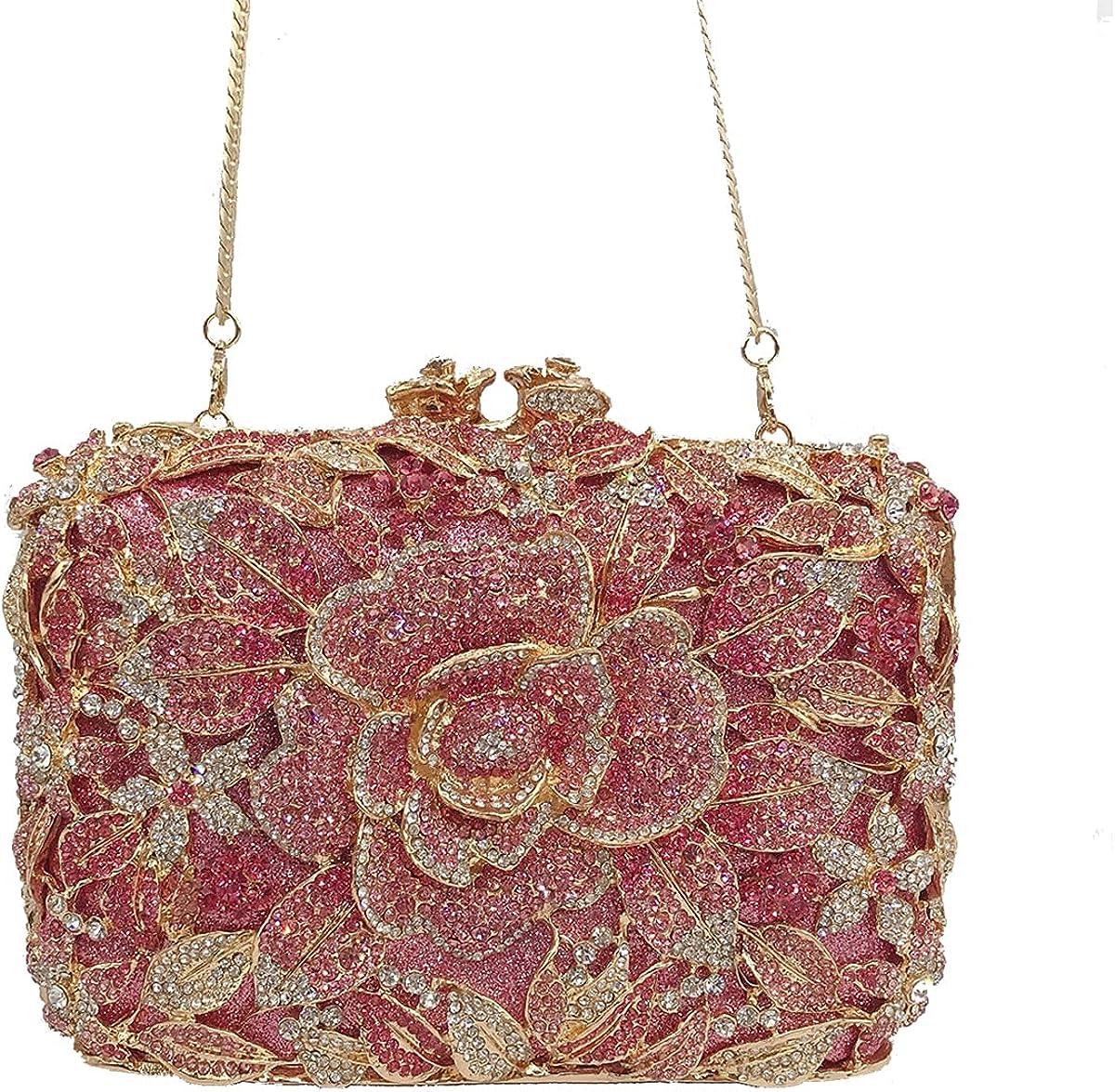 Crystal Clutch for Women Rhinestone Pink Clutch Evening Bag Gold Chain
