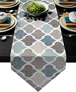 HELLOWINK 90Inch Burlap Table Runners for Dinning Room, Blue Gray, Cotton Linens Table Runner Table Cloth for Wedding Party Holiday Home Decor(Moroccan Plaid Geometric)