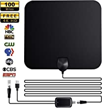 TV Antennas, Indoor TV Aerial Antenna, 2019 Newest CYL Over 65-100 Miles Freeview Digital HDTV Antenna Amplified- Support 4K 1080P HD/VHF/UHF for Life Local Channels Broadcast for All Types Home Smart