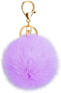 AStorePlus Gold Plated Keychain Car Hook Bags Pom House Key Chain Pom Wallet Key Chain Ring Plush Fur Ball Key Ring Charm Gift, Lavender