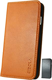 CIBOLA iPhone 6s Plus iPhone 6 Plus Case, Genuine Leather Wallet Case Design with Flip Book Cover and [Credit Card Slot] Magnetic Closure for iPhone 6s Plus (Brown, iPhone 6s Plus/iPhone 6 Plus)