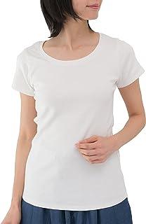 [クロスマーベリー] コットン フライス 半袖 Tシャツ 丸首 伸縮 やわらか シンプル 無地 トップス M~4L レディース