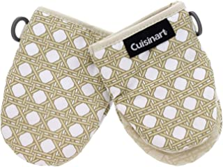 """Cuisinart Silicone Mini Oven Mitts, 2 Pack-Little Oven Gloves for Cooking-Heat Resistant, Non-Slip, Hanging Loop, 5.5"""" x 7.5""""-Ideal for Handling Hot Kitchen/Bakeware Items- Lattice Print– Almond Milk"""