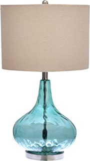 Catalina Lighting 18578-000 Transitional 3-Way Glass Gourd Table Lamp with Linen Shade, 25.5