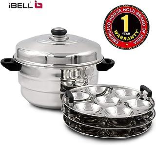 iBELL IP21P3SM High Food Grade Idly Pot Stainless Steel, Idli Pot with Steamer & Mini Idli Plate, 3 Idli Plates (21 Idlyes)