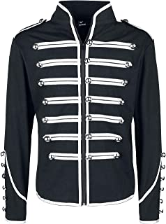 Lost Queen Men's Black and Silver Military Jacket