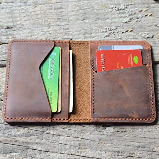 JJNUSA Handmade Mens Wallet Money Clip Wallets for Men Gifts Slim Minimalist Leather Distressed Wallets for Women Brown