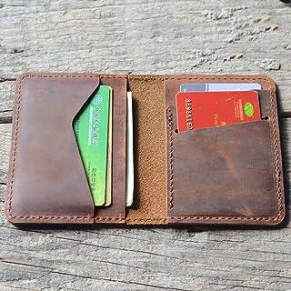 JJNUSA Handmade Mens Wallet Money Clip Wallets for Men Gifts Slim Minimalist Leather Distressed Wallets for Women Brown