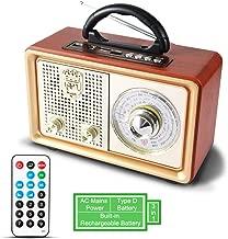 Radio MP3 PORTÁTIL Bluetooth PRUNUS M-110BT FM Am (MW) SW AUX. con Altavoz clásico de Madera Estilo Retro-Vintage. Altavoz 3W Incorporado, Sin Salida de Auriculares. (Oro)