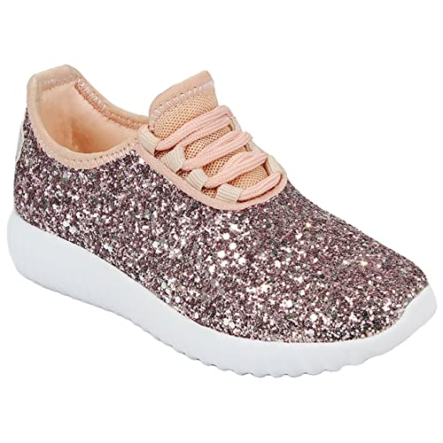 JKNY Kids Girls Fashion Metallic Sequins Glitter Lace up Light Weight  Stylish Sneaker Shoes 9a5f18f3848d