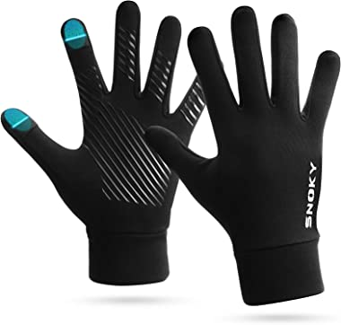 Touch Screen Running Gloves, Snoky Thermal Lightweight Elastic Anti-Slip Winter Gloves Liners for Cold Weather Reflective Log