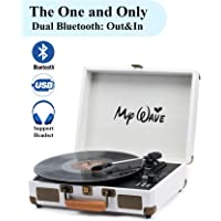 MyWave Bluetooth Wireless Turntable Portable Record Player with Built-in Stereo Speakers (White-2)
