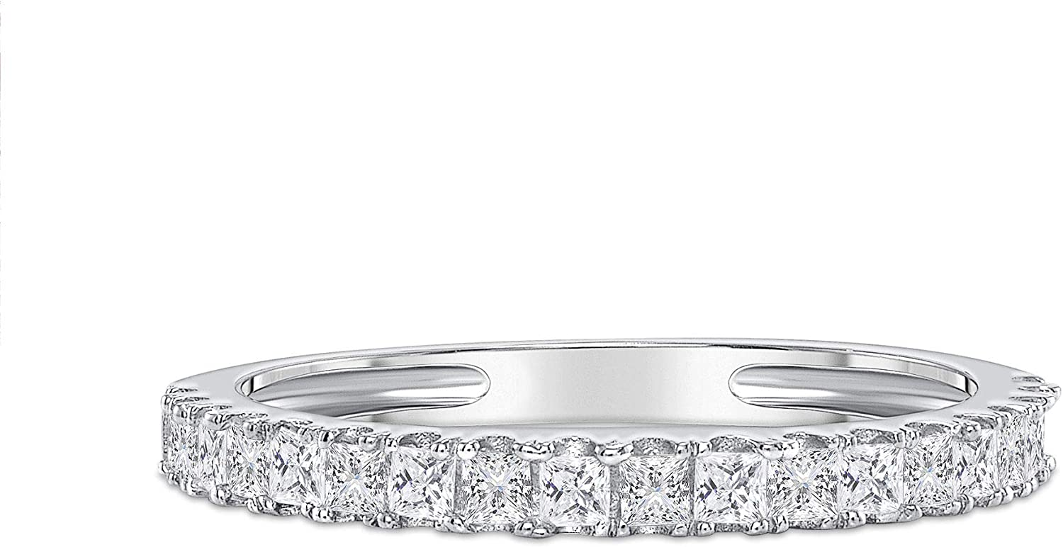 Clara Pucci 0.28 ct Brilliant Princess Cut Simulated Diamond CZ Designer Modern Statement Stacking Band Ring In Solid 14K White Gold, Size 4.25