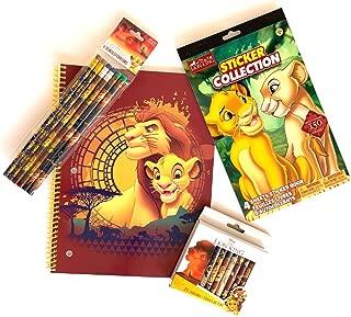 Disney Lion King School Set! Includes Spiral Notebook + Pencils + Crayons + Sticker Book Featuring Simba & Mufasa & Nala! 4 Piece Art Supply Kit!