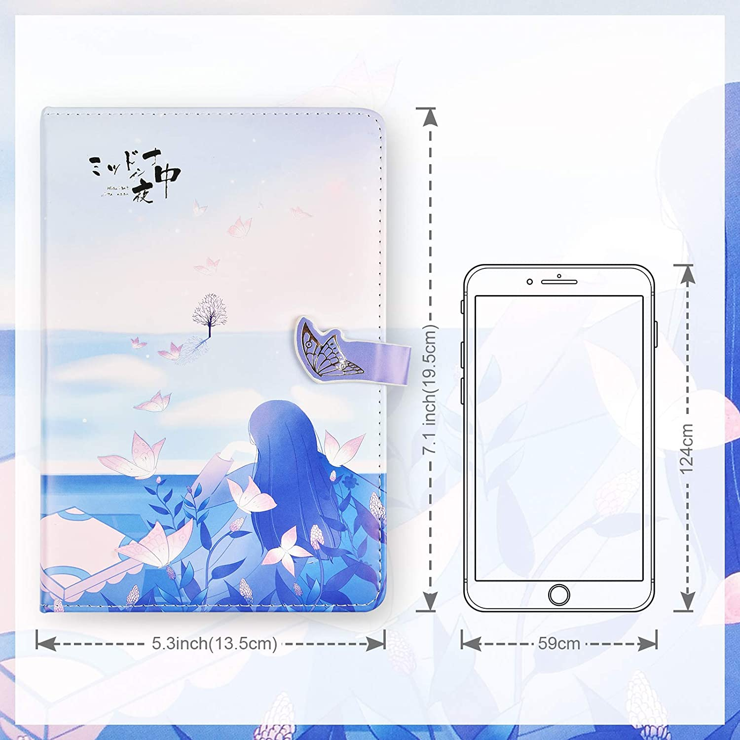 Art Sketchbook 258 Pages (Light blue /& girl) Gift for women Girls Hardcover Notebooks Personal Diary PU Leather Colorful Blank Writing Journal for Women Beautiful Journal to Write in
