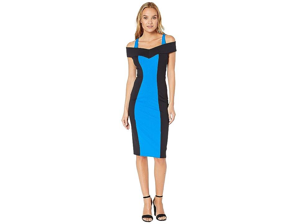 Bebe Imogen Cold Shoulder Dress (Princess Blue/Black) Women