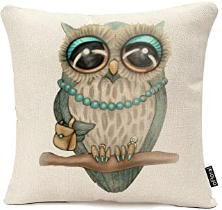 oFloral Cotton Linen Rural Style Owl Pattern Cushion Cover Cotton Pillowslip Square Decorative Throw Pillow Case 18