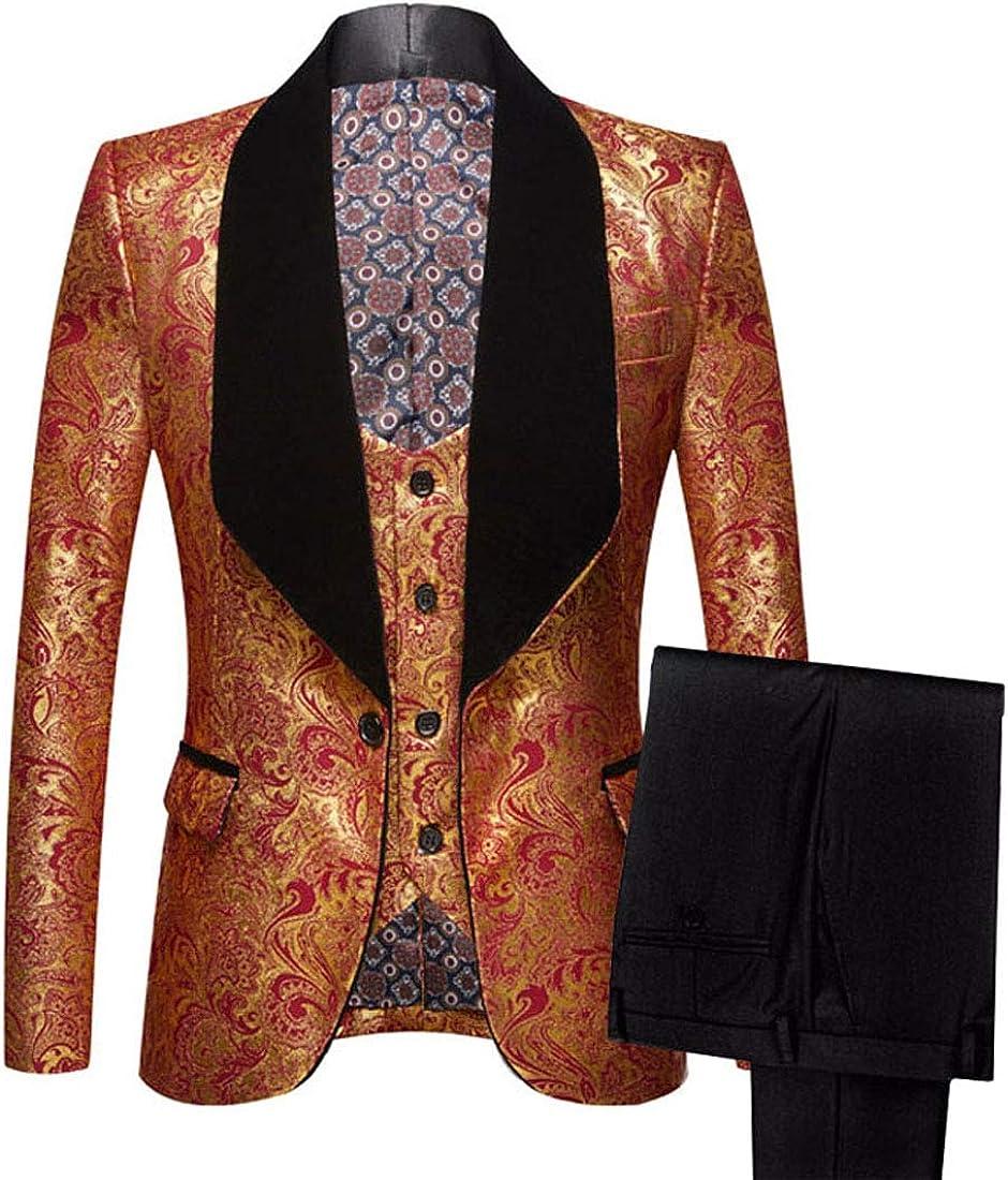 PYJTRL Mens Three-Piece Set Shawl Lapel Jacquard Prom Dress Suits