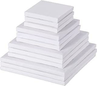 12 Pieces Assorted Size Mini Art Canvas Stretched for Craft Painting Drawing (3 Inches/ 4 Inches/ 5 Inches/ 6 Inches)