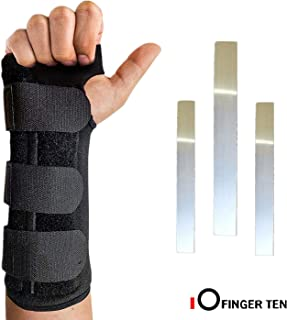 Wrist Brace Support Hand Left Right Carpal Tunnel Men Women Night Sleep Pack, Adjustable Strap for Arthritis Athletic Sprain, Elastic Exercise Bowling Drawing Mouse Keyboard Gym (Worn on Left Hand)